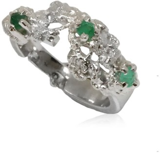 Out Of The Sea Growth Ring Silver With Raw Emeralds