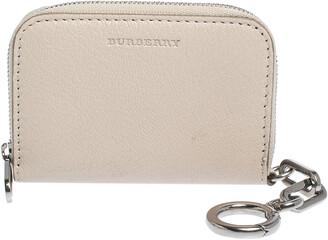 Burberry Beige Leather Zip Around Wallet