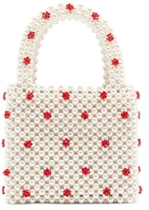 Shrimps Dolly Faux-pearl And Bead-embellished Bag - Cream Multi