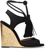 Paul Andrew Tianjin tasseled suede-trimmed canvas wedge sandals