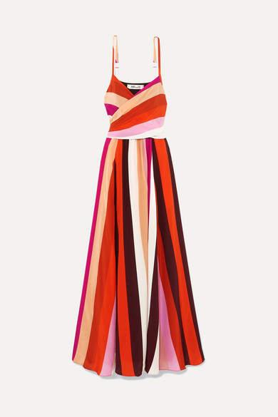 Diane von Furstenberg Azalea Striped Silk Crepe De Chine Maxi Dress - Pink