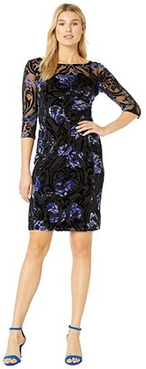 Tahari ASL Long Sleeve Illusion Burnout Floral Dress (Black/Purple Burnout) Women's Dress