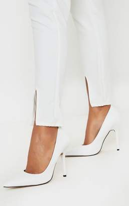 PrettyLittleThing White Square Heel Court Shoe