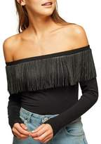 Miss Selfridge Fringe Bardot Bodysuit