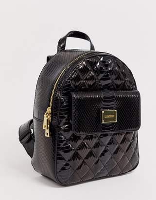 Love Moschino high shine snake quilted backpack-Black