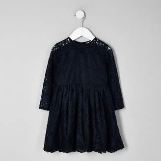 River Island Mini girls Navy lace skater dress