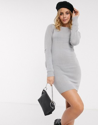 Brave Soul grungy round neck jumper dress in crystal grey