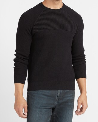Express Solid Ribbed Crew Neck Sweater