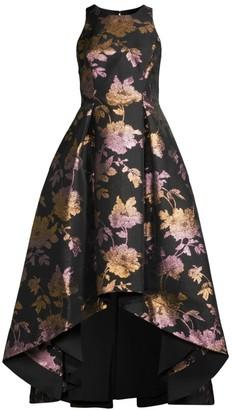 Aidan Mattox Metallic Jacquard Hi-Lo Dress