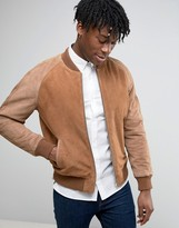 Asos Suede Bomber Jacket With Contrast Sleeves In Tan