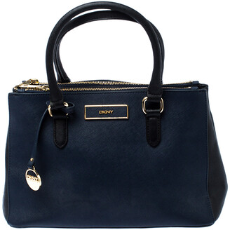 DKNY Blue/Black Saffiano Leather Tote