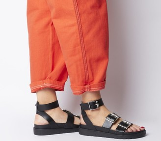 Office Stingray Strappy Cleated Sandals Black Leather