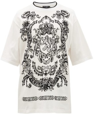 Dolce & Gabbana Flocked Regal Lion Cotton-blend T-shirt - Mens - White Black