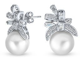 Bling Jewelry Bridal Ribbon CZ White Stud Imitation Pearl Earrings Sterling Silver