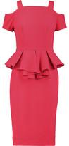 Raoul Sloane Cold-Shoulder Crepe Peplum Dress