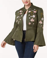INC International Concepts I.n.c. Plus Size Embroidered Peplum Military-Inspired Jacket, Created for Macy's