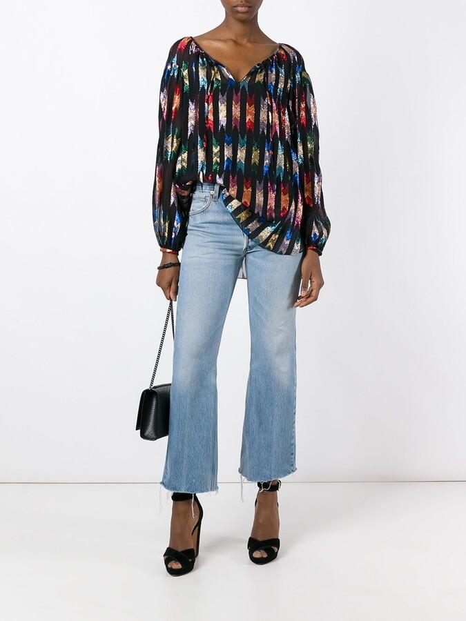 Saint Laurent patterned sheer gypsy blouse
