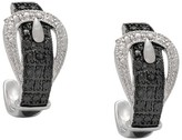 Silver Overlay Diamond Accent Black and White Buckle Hoop Earrings