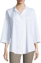 Lafayette 148 New York Analeigh Bracelet-Sleeve Blouse, White, Plus Size