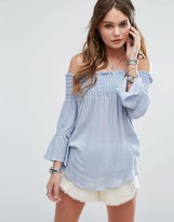 Glamorous Off Shoulder Smock Top With Flared Sleeves