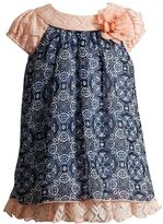 Youngland Baby Girl Medallion Print Crochet Dress