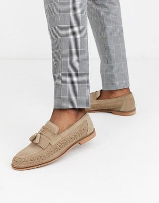 Walk London arrow woven loafers in beige suede