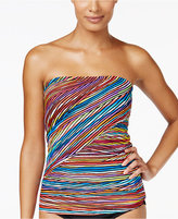 Anne Cole Pick Up Stix Asymetric Striped Bandeau Tankini Top
