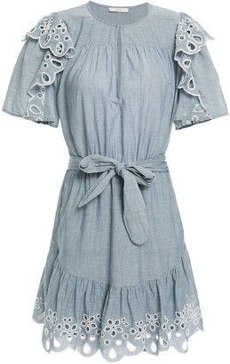 Joie Safia Ruffled Broderie Anglaise Cotton-chambray Mini Dress