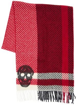 Alexander McQueen Skull & Check Mohair Blend Scarf