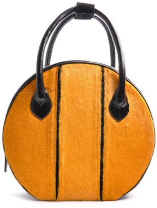 Ostwald Finest Couture Bags Circle Soft Medium In Nero Black & Sunny Yellow