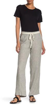 Caslon Yarn Dye Striped Linen Blend Pants (Regular & Petite)