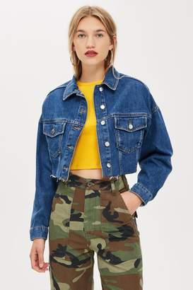 Topshop Womens Blue Hacked Denim Jacket - Mid Stone