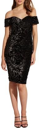 Bardot Sequin Velvet Off the Shoulder Dress