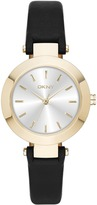 DKNY Stanhope Gold IP Black Leather Watch
