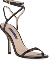 Stuart Weitzman Merinda Strappy Patent Ankle-Wrap Sandals