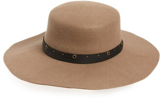 Frye Studded Belt Wool Felt Boater Hat