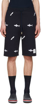 Thom Browne Navy Classic Shark and Surfboard Lounge Shorts