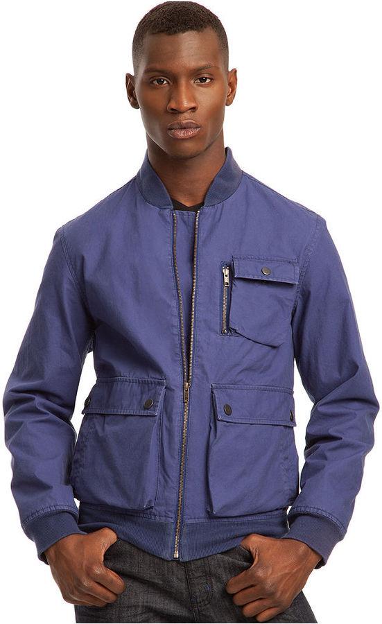 Kenneth Cole Reaction Coat, Canvas Rib Trim Waister Jacket
