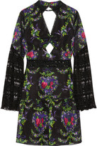 Anna Sui Bird Garland Cutout Lace-paneled Fil Coupé Chiffon Mini Dress - Black