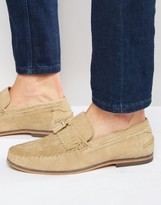 Asos Tassel Loafers in Stone Suede With Fringe and Natural Sole