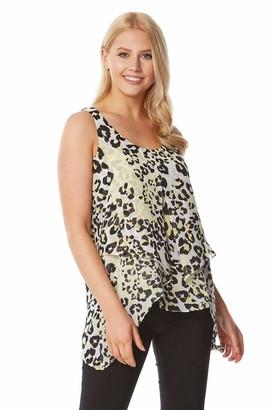Roman Originals Women Animal Print Overlay Vest Top - Ladies Spring Summer Leopard Printed Stylish Everyday Casual Holiday Cruise Travel Chiffon Lightweight Sleeveless Tops - Yellow - Size 12
