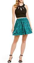 Teeze Me Triple Keyhole Neckline Two-Piece Party Dress