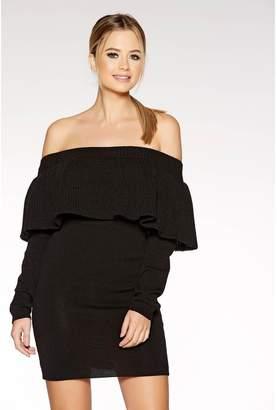 Quiz Black Chunky Knit Bardot Frill Detail Jumper Dress