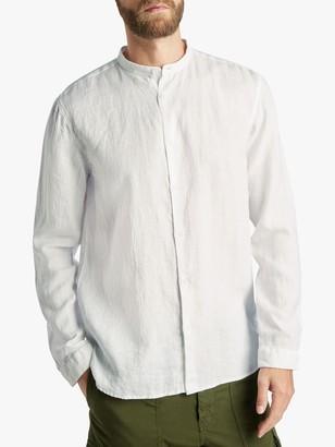 HUGO BOSS HUGO by Eddison-W Stand Collar Linen Shirt, White