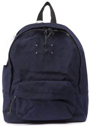 Maison Margiela Blue Zipped Backpack In Nylon
