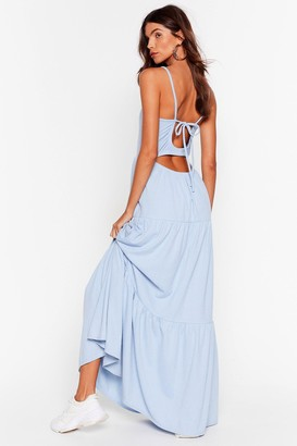 Nasty Gal Womens Tier's to Us Cut-Out Maxi Dress - Blue - 6