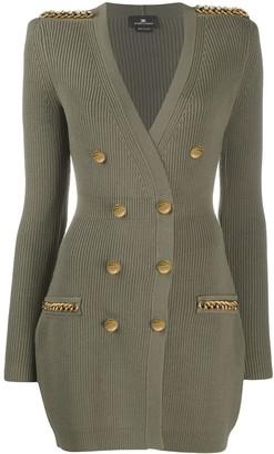 Elisabetta Franchi Button-Embellished Sweater Dress