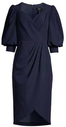 Aidan Mattox Puff-Sleeve Cocktail Dress