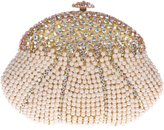 Santimon Women Clutch Gourd Shape Crystal Purses Pearl Evening Clutch Bags with Removable Strap