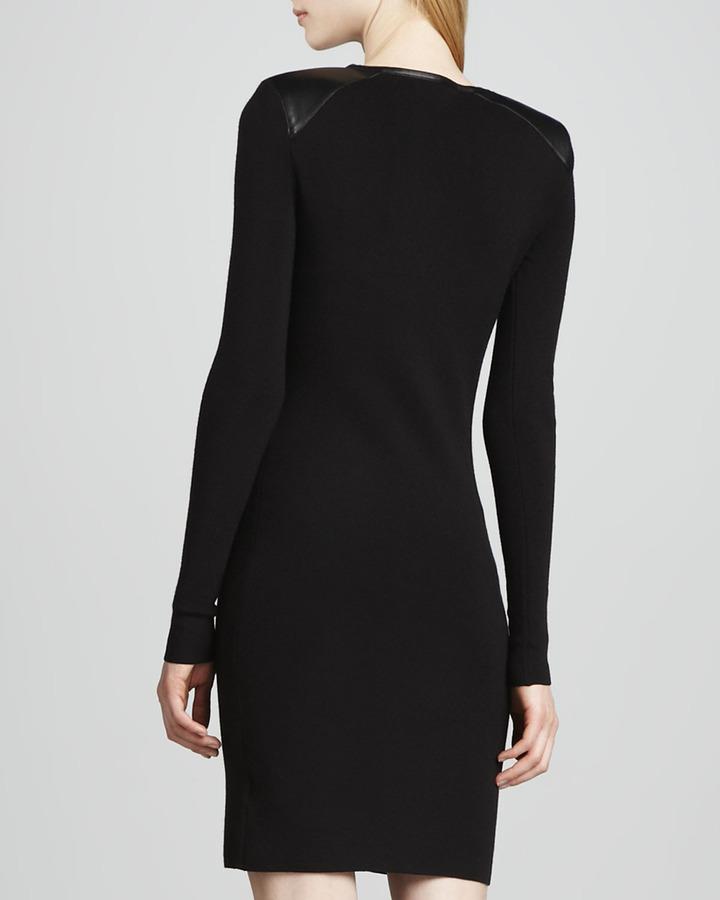 J Brand Ready to Wear Sydney Leather-Trim Long-Sleeve Dress